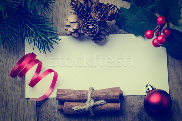 Christmas Message Background Bordered with Decorations - Retro H Stock photo © frannyanne