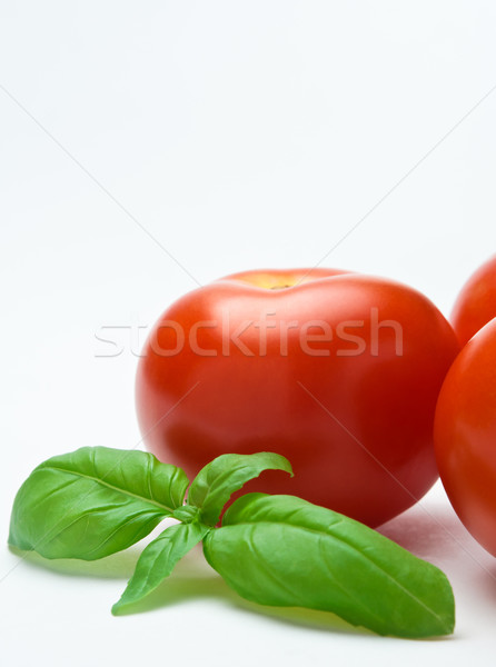 Tomatoes and Basil - Vertical Orientation Stock photo © frannyanne