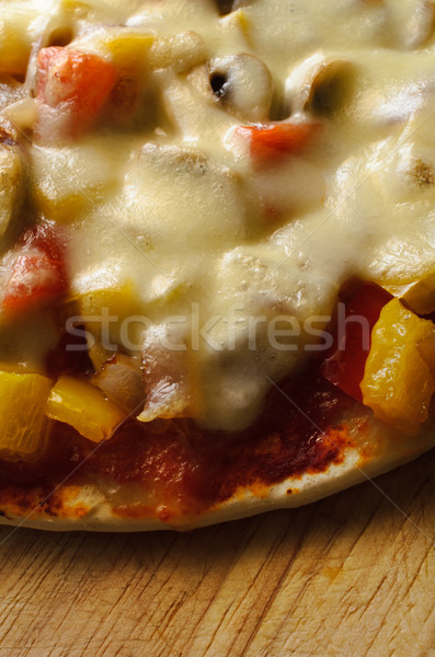 Vegetable and Cheese Pizzza from Above Stock photo © frannyanne