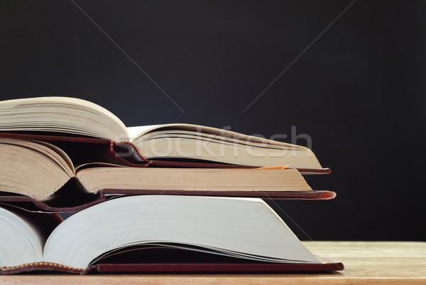 Books on Desk with Chalkboard Stock photo © frannyanne