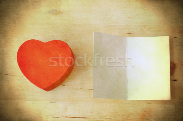 Red Heart Gift Box and Card - Retro Grungy  Stock photo © frannyanne
