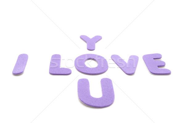 Sevmek sözler dışarı leylak rengi mor köpük Stok fotoğraf © frannyanne