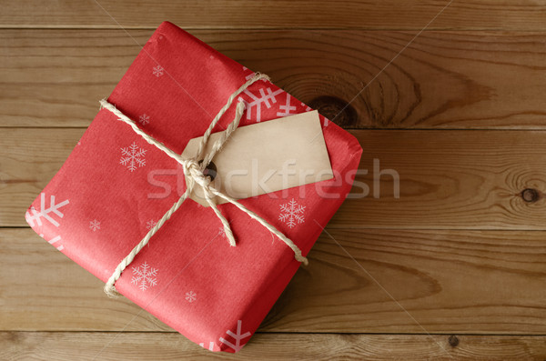String Tied Red Christmas Parcel Stock photo © frannyanne