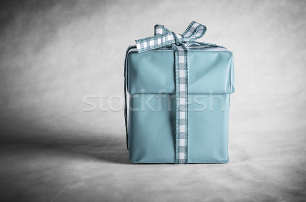 Blue Gift Box Tied with Bow Stock photo © frannyanne