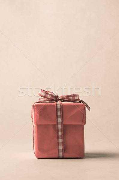 Retro Style Gift Box with Gingham Ribbon Bow Stock photo © frannyanne