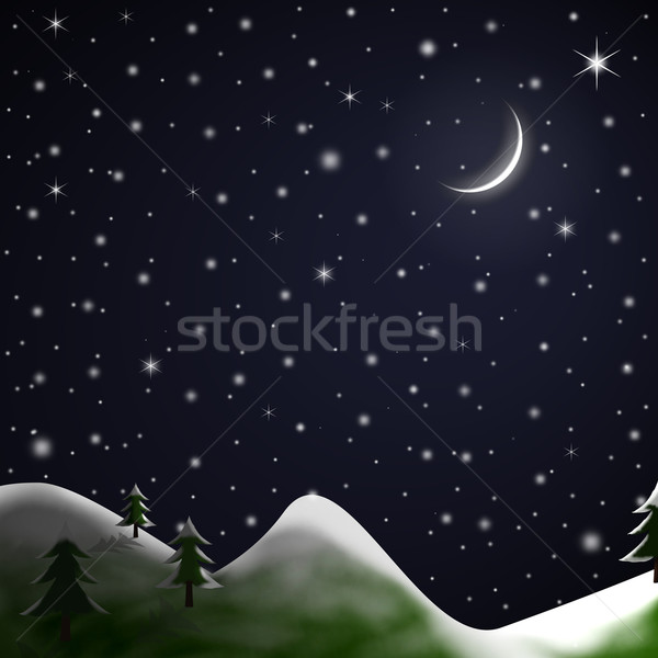 Stock fotó: Karácsony · jelenet · csillagos · éjszaka · illusztráció · tél