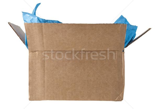 Nyitva doboz papírzsebkendő izolált kinyitott kartondoboz Stock fotó © frannyanne
