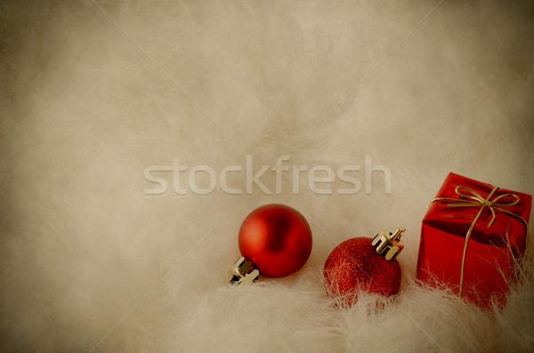Christmas Decorations on White Fur - Vintage Stock photo © frannyanne