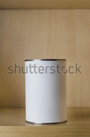 Bir kalay etiket raf can alüminyum Stok fotoğraf © frannyanne