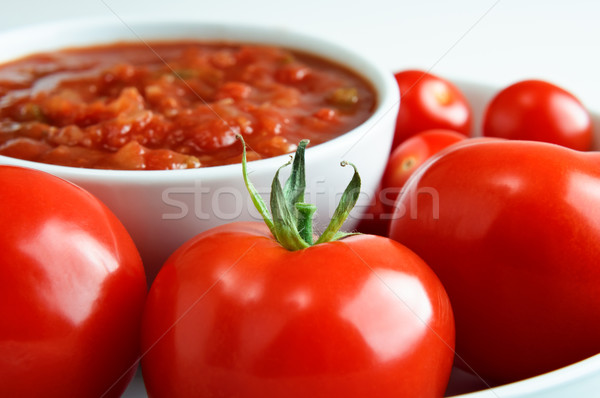 Bowl of Red Salsa with Tomatoes Stock photo © frannyanne