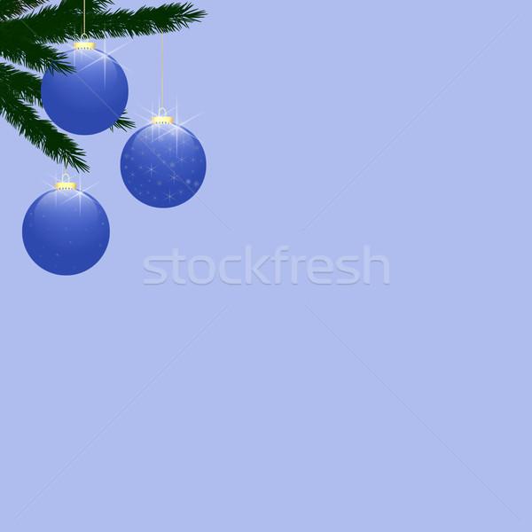 Christmas Tree Baubles on Light Blue Stock photo © frannyanne