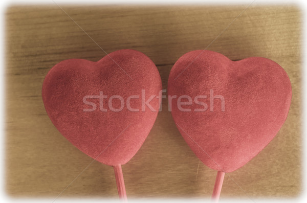 Velvety Hearts on Wood - Retro Stock photo © frannyanne