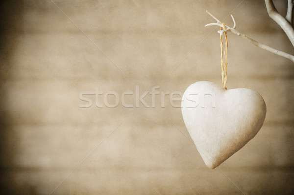 Heart Hanging from Tree on Wood Background - Vintage Stock photo © frannyanne