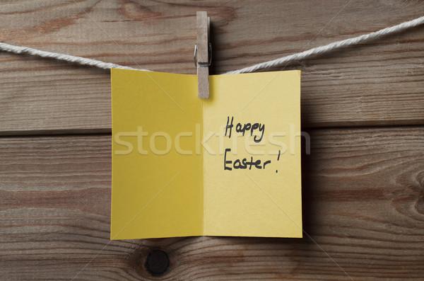 Geel Pasen kaart string hout Stockfoto © frannyanne
