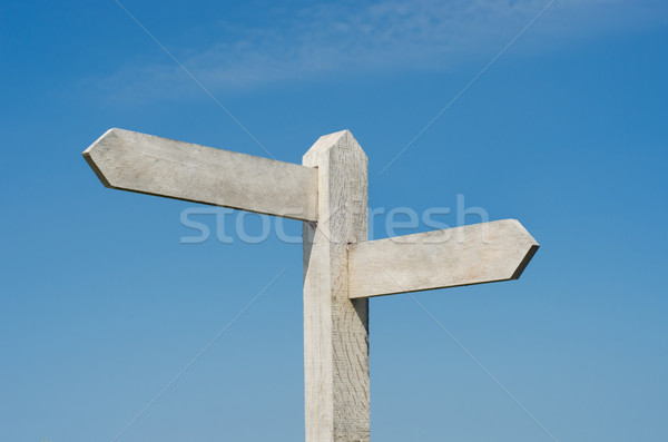 Old Wooden Signpost with Two Blank Boards Stock photo © frannyanne