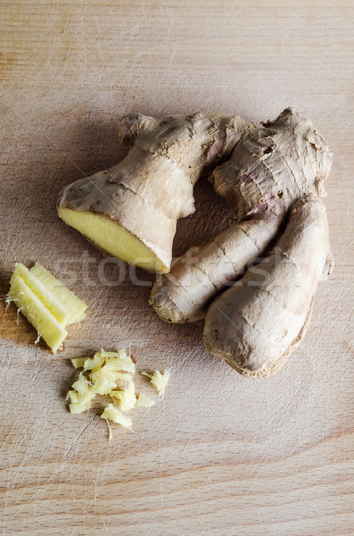 Ginger Root on Wooden Board Stock photo © frannyanne