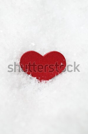 Red Heart in Frosty White Snow Stock photo © frannyanne