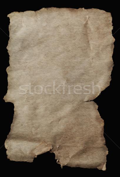 Régi pergamen papír kopott szakadt üres papír viharvert Stock fotó © frannyanne
