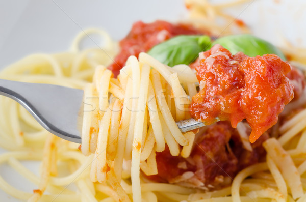Spaghetti and Sauce on Fork Stock photo © frannyanne
