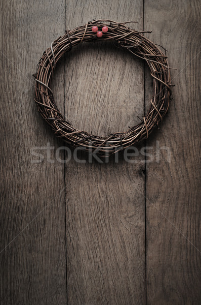 Simple Christmas Twig Wreath Hanging  on Oak Plank Door - Vintag Stock photo © frannyanne
