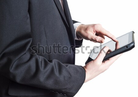 Stock photo: Business Man in Suit Holding Tablet PC on White Background