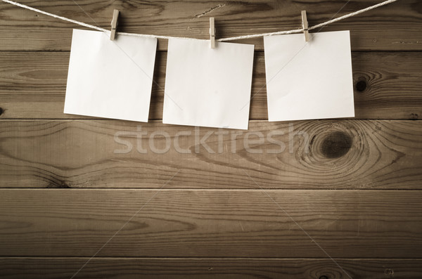 Three Square Reminder Notes Pegged on Clothesline Stock photo © frannyanne