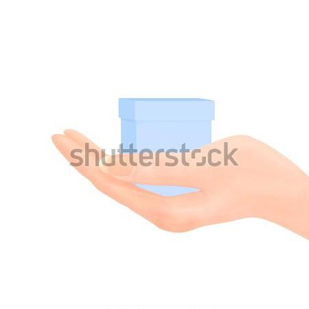 Kéz felajánlás ajándék kék doboz illusztráció Stock fotó © frannyanne