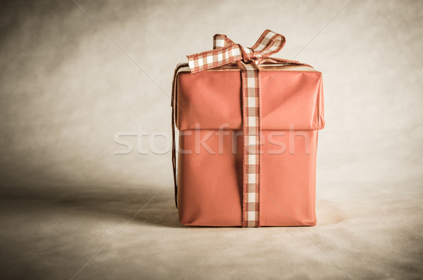 Single Gift Box Tied with Bow Stock photo © frannyanne