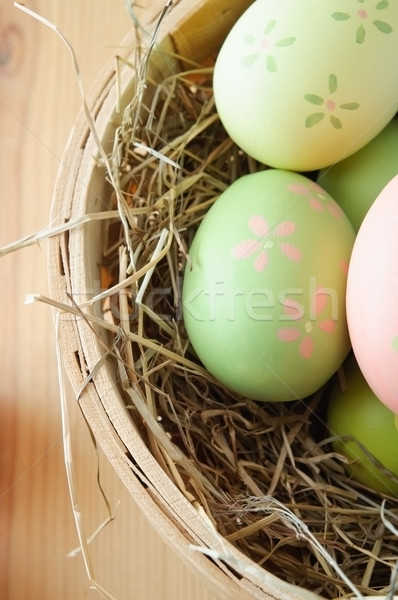 Stock photo: Easter Egg Basket Overhead