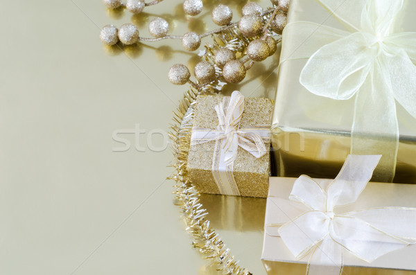 Gold Christmas Gifts Stock photo © frannyanne
