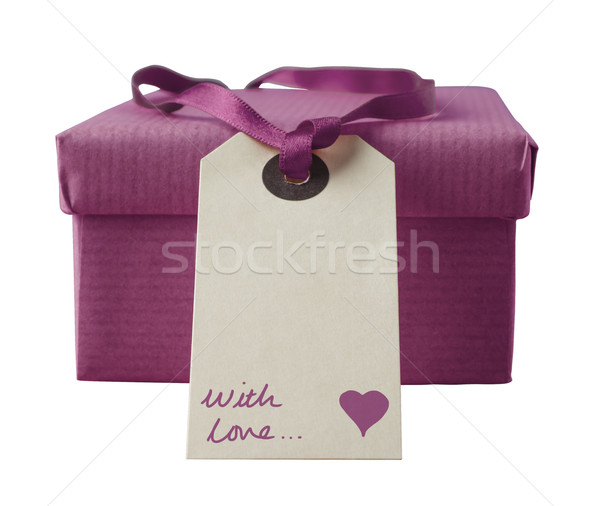 Isolated Gift Box with Handwritten Label - Orchid Stock photo © frannyanne