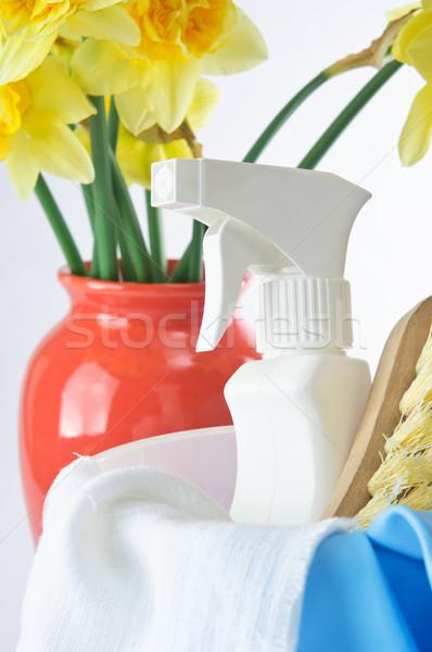 Pulizie di primavera verticale shot prodotti di pulizia primo piano vaso Foto d'archivio © frannyanne