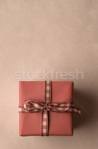 Square Gift Box with Gingham Check Ribbon from Above Stock photo © frannyanne