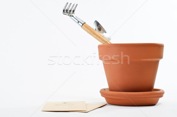 Impianto pot semi strumenti sementi accanto Foto d'archivio © frannyanne