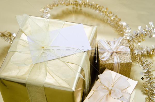 Natale regali oro gruppo carta nastro Foto d'archivio © frannyanne