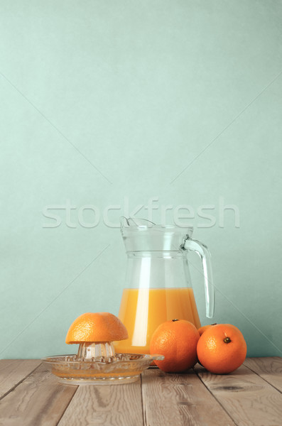 Suco de laranja cena inteiro laranjas metade Foto stock © frannyanne
