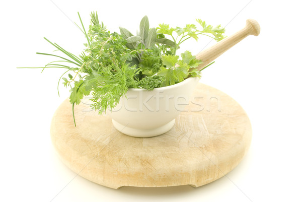 Herbs in Mortar with Pestle Stock photo © frannyanne