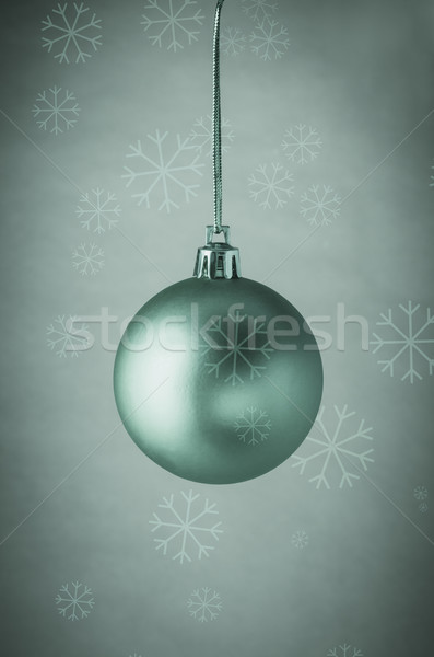 Turquoise Christmas Bauble with Snowflakes Stock photo © frannyanne