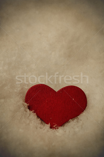 Red Heart Settled into Snow - Vintage Stock photo © frannyanne