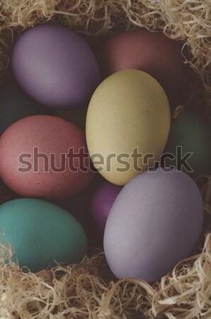 Stock fotó: Festett · húsvéti · tojások · kereszt · kilátás · különböző · aszalt