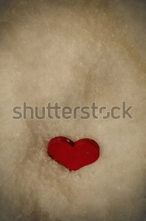 Red Heart in Snow From Above - Vintage Stock photo © frannyanne