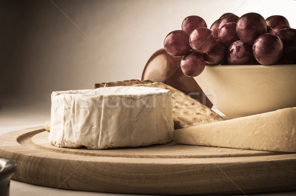Rustic Cheeseboard with Grapes Stock photo © frannyanne