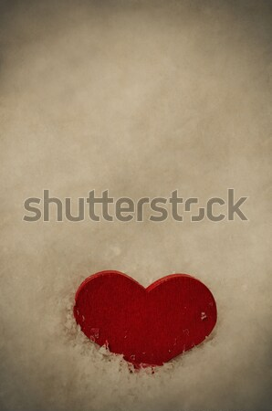 Red Heart in Frosty White Snow - Vintage Stock photo © frannyanne