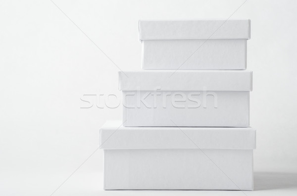 Stock photo: Stack of Three Plain White Boxes with Lids