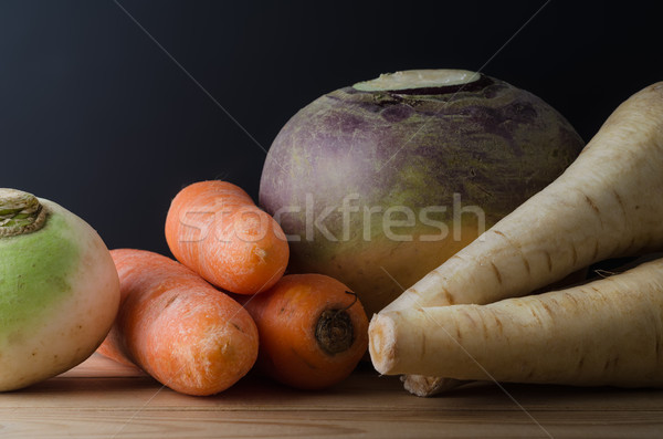 Stock photo: Root Vegetables Arranged on Table