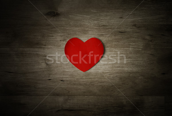 Red Heart On Old Weathered Wood Stock photo © frannyanne