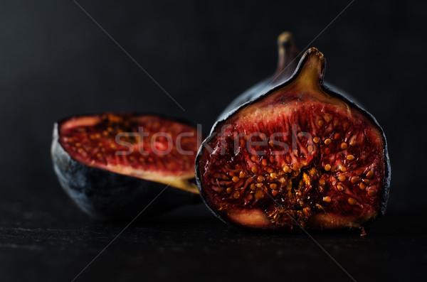 Stock photo: Very  Ripe Figs - Still Life on Black