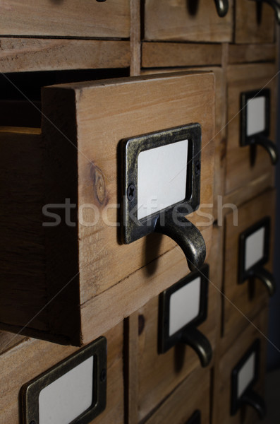Stock photo: Open Drawer in Wooden Index Card Units