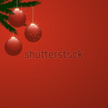Christmas Tree Baubles on Red Gradient Stock photo © frannyanne