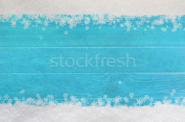 Christmas Snowflake Border on Blue Wood Stock photo © frannyanne